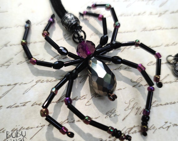 Beaded Spider Necklace | Spider jewelry | Black Widow Spider Necklace | Insect Jewelry | Insect beaded necklace