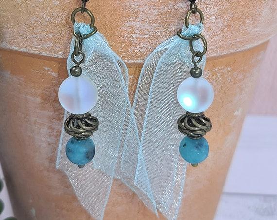 Silk ribbon earrings | Boho beaded earrings | earrings for women | Ribbon earrings | Bohochic | Bronze earrings | Unique  Gift for Her.