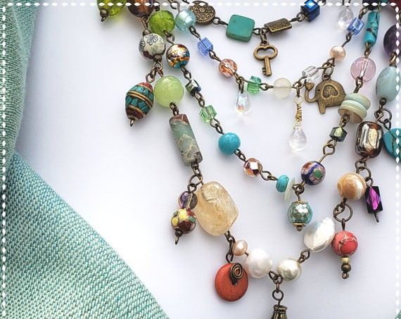 Boho Jewelry, Statement Necklace, Beaded Necklace, Multi Tier Necklace