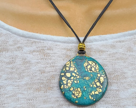 Polymer clay medallion necklace   Pendant Necklace   Boho Medallion necklace   Polymer clay necklace   organic jewelry   Gift for Her.