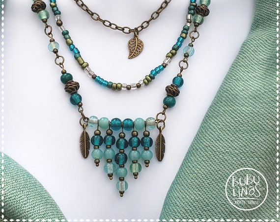 Boho Jewelry, Statement Necklace, Aqua Green Necklace, Three Tier Necklace
