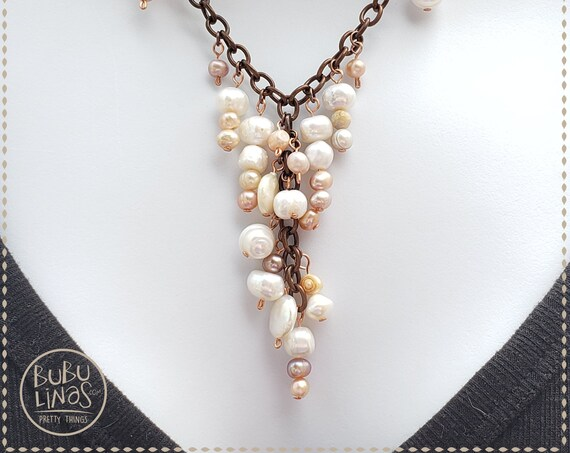 Boho Jewelry, Pearls necklace , Beaded Necklace, Fresh water pearls Jewelry
