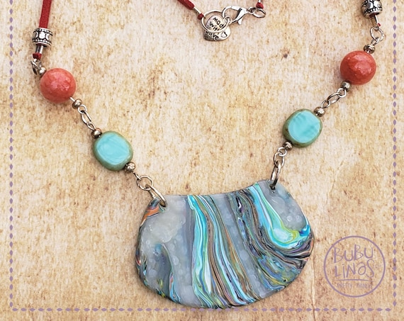 Boho Necklace, Polymer Clay Jewelry,  Boho Jewelry
