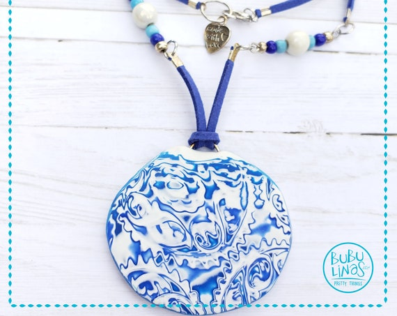 Boho Necklace, Blue Necklace, Polymer Clay Jewelry,  Boho Jewelry