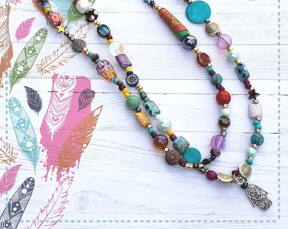 Boho Jewelry, Two Tier Necklace with charm, Statement Necklace, Multicolored Bohemian Necklace