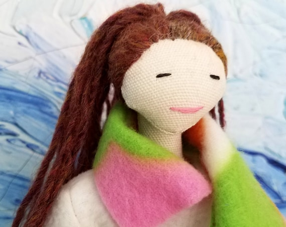 Fabric doll with clothes. Christmas gift for girls.