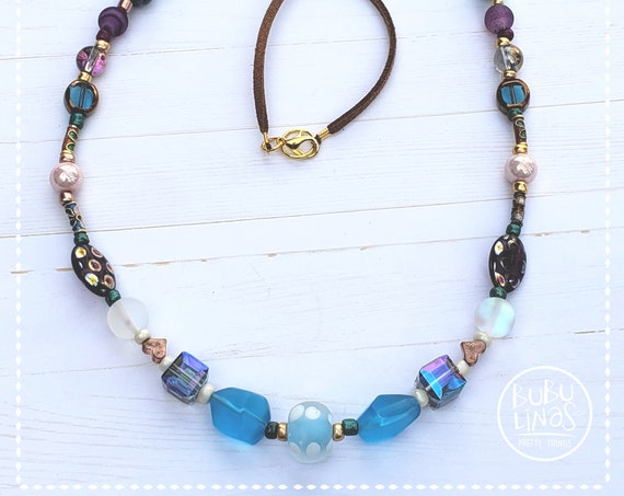 Boho Jewelry, Statement Necklace, Multicolored Bohemian Necklace