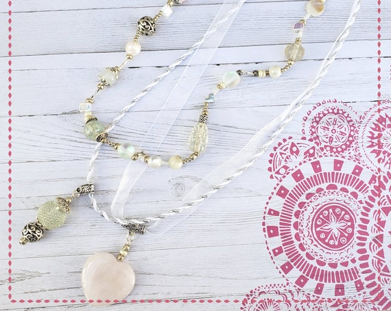 Bohemian Necklace, Boho Jewelry, Three Tier Necklace, Statement Necklace, White necklace