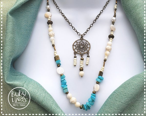Boho Jewelry, Dreamcatcher Necklace, Two tier necklace, Fresh water pearls