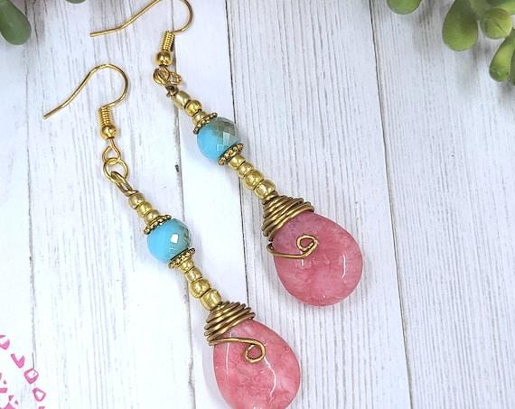 Beaded dangle earrings | Pink Rhodochrosite earrings | Teardrop earrings | Statement earrings | Bohemian Jewelry | Unique  Gift for her.