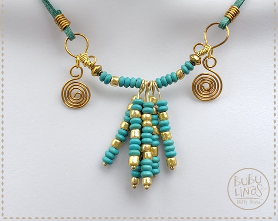 Bohemian Jewelry, Statement Necklace, Gold and Green necklace