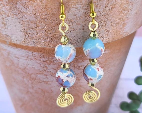 Beaded dangle earrings. Cool earrings. Jasper earrings. Statement earrings. Boho Jewelry. Sea sediment jasper earring. Unique  Gift for her