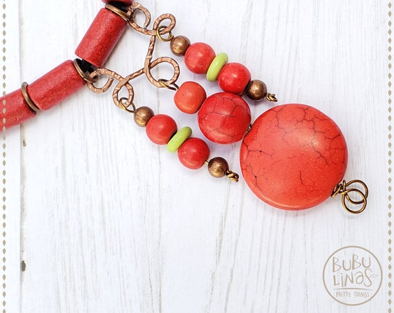 Hippie Jewelry, Boho Necklace, Statement Necklace, Red Necklace