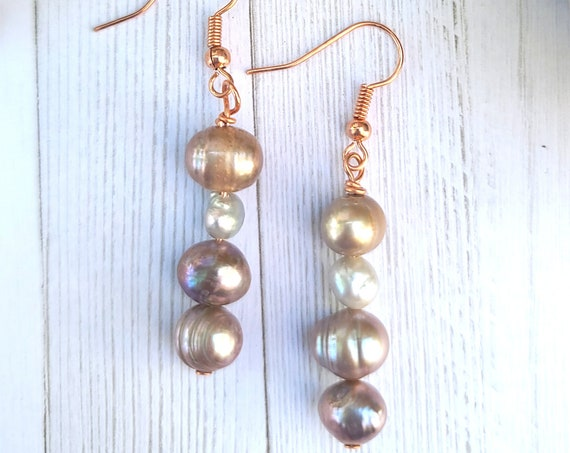 Freshwater pearl earrings. Pearl dangle drop earrings. Pink and gray pearl earrings. Boho earrings | Unique Christmas Gift