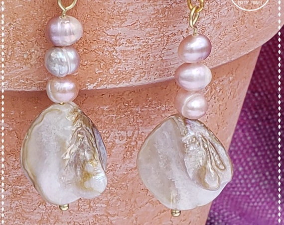 Freshwater pearl earrings | Pearl dangle drop earrings | Pink and gray pearl earrings | Boho earrings | Cool earrings