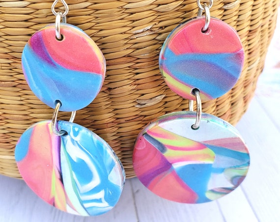 Colorful Polymer clay dangle earrings | Spring earrings | Dangly earrings | Cool earrings | abstract earrings | round dangle earrings