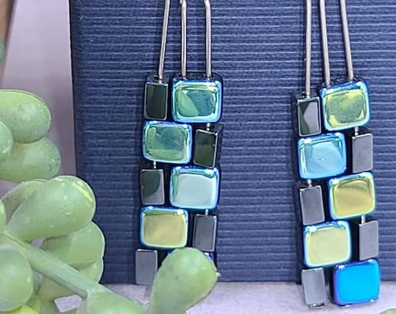 Rectangle earrings dangle | Hematite Earrings | Geometric Earrings | Minimalist Bead Earrings | Czech Glass Earrings