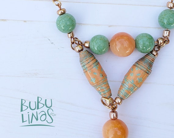 Bohemian necklace with paper beads. Glass bead necklace for women. Charm necklace for women.