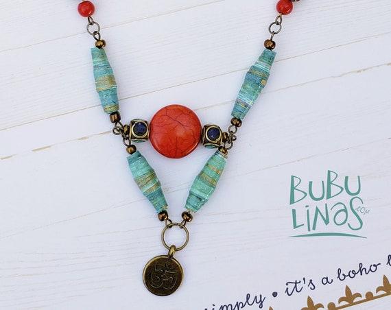 Boho Necklace, Boho Jewelry, Ohm Charm, Paper beads Jewelry