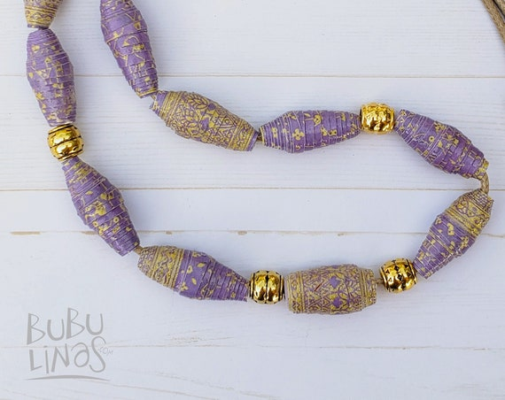 Boho Necklace, Boho Jewelry, Paper beads Jewelry, Handmade beads