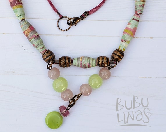 Bohemian Paper beads Necklace