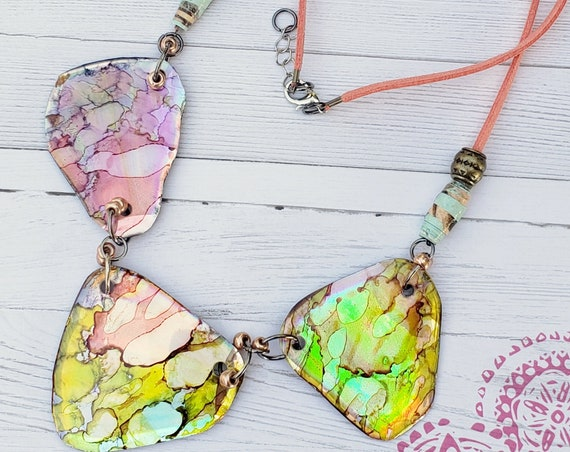 Alcohol Ink jewelry | Unique bohemian necklace | Bib Necklace | CD Necklace | Double sided necklace | Gift for Mom | Boho necklace for women