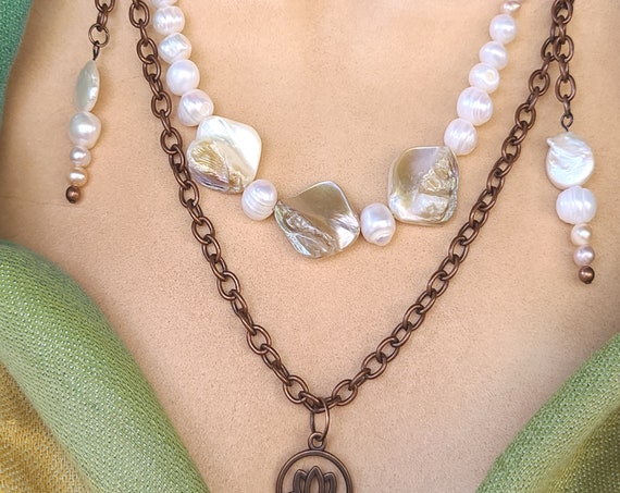 Boho pearl necklace | Fresh water pearls necklace | Lotus necklace | copper and pearl | lotus flower charm | Boho Chic Necklace