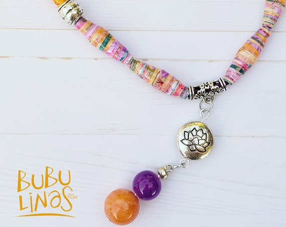 Boho Necklace, Boho Jewelry, Lotus Charm, Paper beads Jewelry