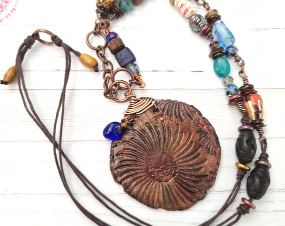 Long Boho beaded Necklace | Polymer Clay Long Necklace | Tribal Necklace | Ethnic Jewelry | Hippie Necklaces | Rustic jewelry