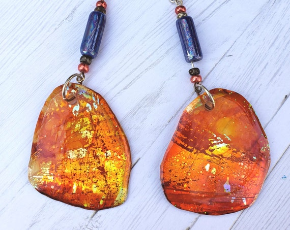 Alcohol Ink and resin earrings. Bold irregular dangle drop earrings. Recycled Earrings. Boho Artisan Hippie Earrings.