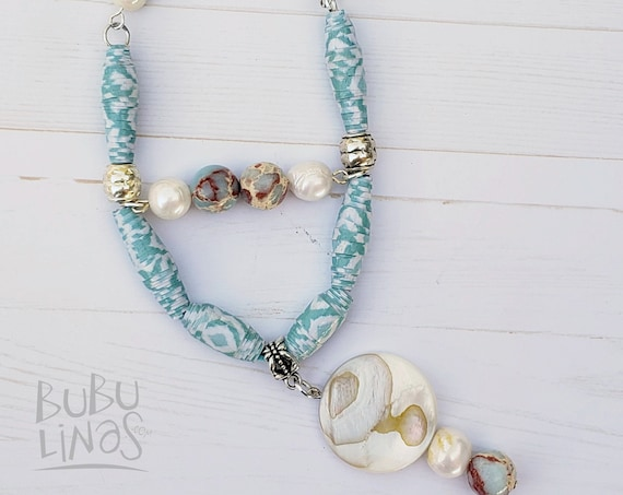 Boho Necklace, Boho Jewelry, Beach necklace, Paper beads Jewelry