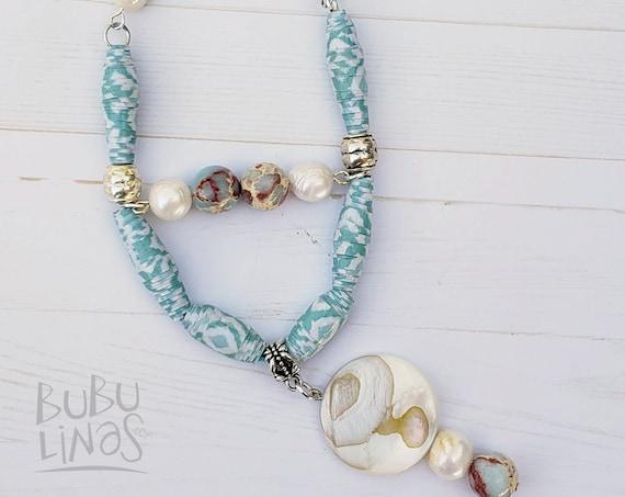 Paper bead jewelry. Sea shell jewelry. Bohemian handmade necklace for women.