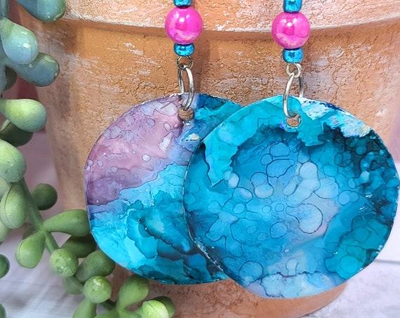 Alcohol Ink and resin earrings. Bold Round dangle drop earrings. Recycled Earrings. Boho Artisan Hippie Earrings.