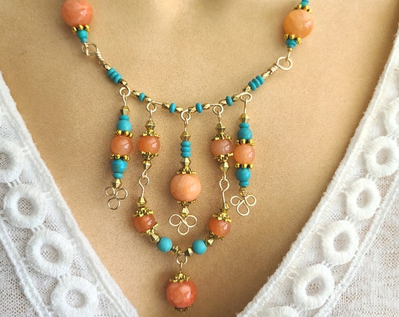Bohemian Chandelier Necklace and Earring set | Jewelry set | Beaded necklace | Ethnic jewelry | boho chic | semi precious stone necklace
