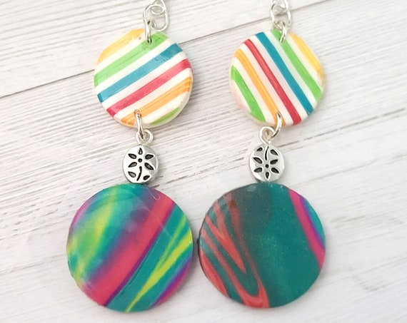 Colorful polymer clay earrings | Dangle drop earrings | Cool Spring Earrings | Dangly earrings | statement earrings |