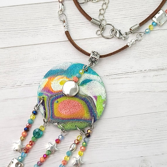 Colorful Polymer clay necklace | Pendant Necklace | Medallion necklace | Beaded chandelier necklace | Spring  Beaded Necklace
