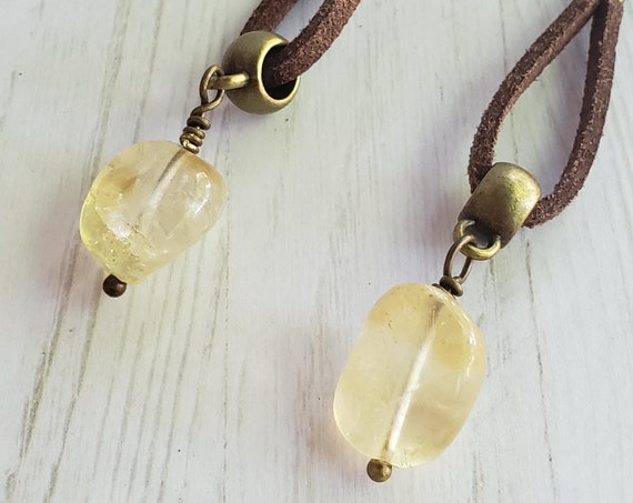 Leather Drop Dangle Earrings | Boho Leather loop Earrings | Citrine crystal and leather Earrings | November Birthstone earrings