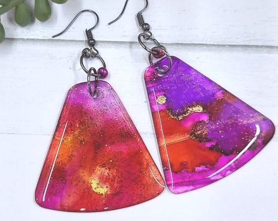 Alcohol Ink earrings. Resin earrings. Bold Colorful Boho drop dangle earrings. Geometric earrings. Summer jewelry