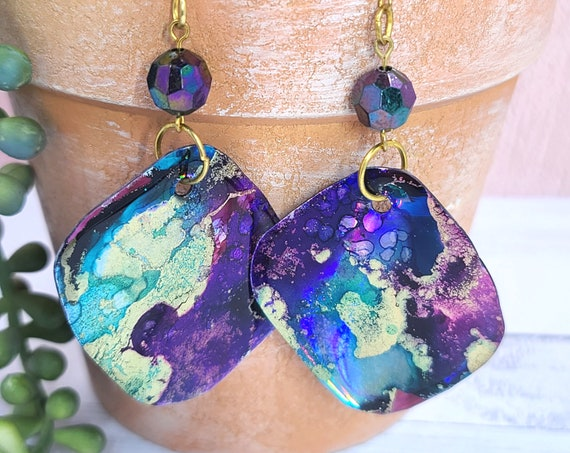 Alcohol Ink and resin earrings. Bold square dangle drop earrings. Recycled Earrings. Boho Artisan Hippie Earrings.