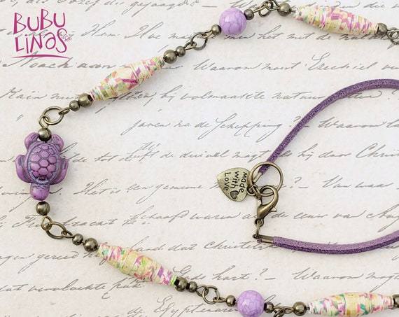 Necklace with Tortoise Charm and paper beads. Boho necklace for women.