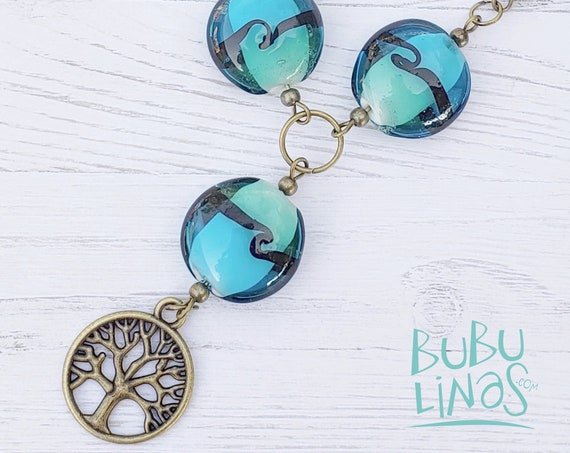 Glass beads necklace. Tree of life pendant necklace. Boho necklace for women.
