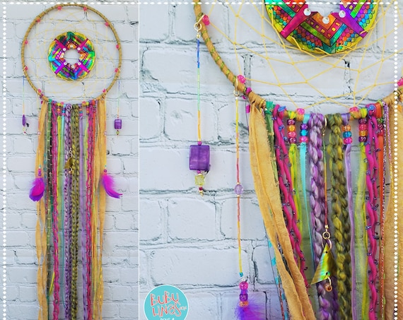 Dreamcatcher Unique Bohemian shinny Dream catcher Boho spiritual Wal Art Chic home decor recycled CDs ornaments Handmade Wall hanging