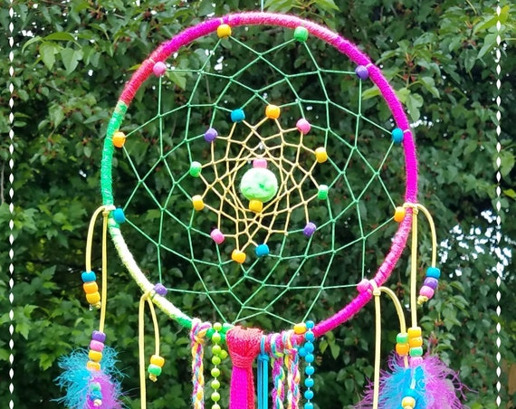 Fun Colorful Dreamcatcher Unique Dream catcher  bright Neon colors kids Wal Art Handmade Wallhanging whimsical boho rainbow colorful