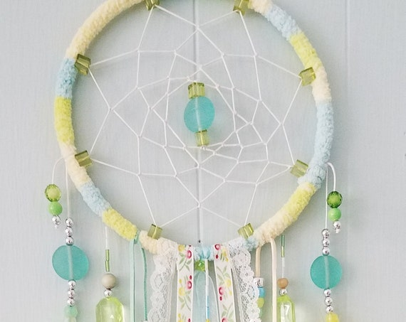 Dreamcatcher Unique Yellow and aqua dream catcher with beads  lace and CDs Soft  shiny delicate girly Boho Wall Hanging chic spiritual art