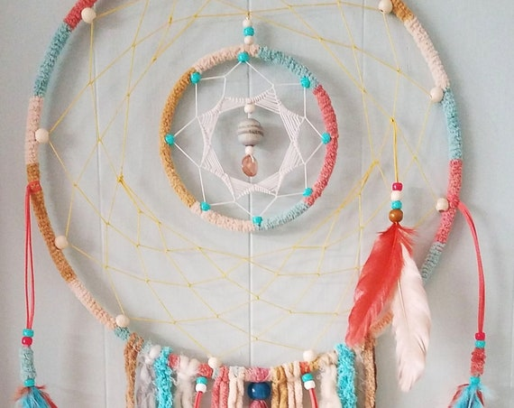 Dreamcatcher Unique nature inspired Dream catcher soft earthy colors Boho bohemian wall art spiritual art home decor