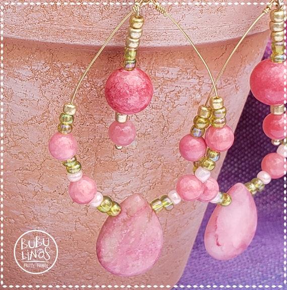 Pink Rhodochrosite Earrings | Wire Teardrop earrings | Beaded earrings |  Dangle Earrings | Valentine's Day Gift for women