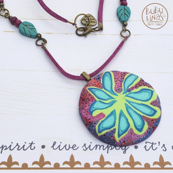 Boho Necklace, Polymer Clay Jewelry Flower Necklace