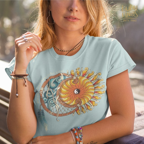 Dream Away, Beautiful Soul, Ying Yang Moon and Sun Dreamcatcher - Short-Sleeve Unisex T-Shirt