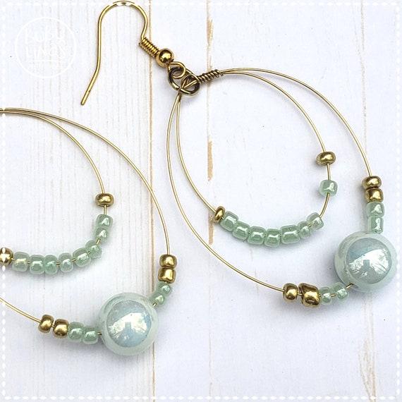 Wire Teardrop earrings | Czech Glass Earrings |  Dangle Earrings | Bohemian Earrings | Light Blue Earrings | Valentine's Earrings
