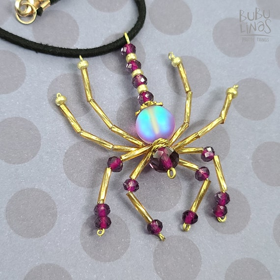 Beaded Spider Necklace | Spider jewelry | Gold Spider Necklace | Insect Jewelry | Pink Necklace | Insect beaded necklace